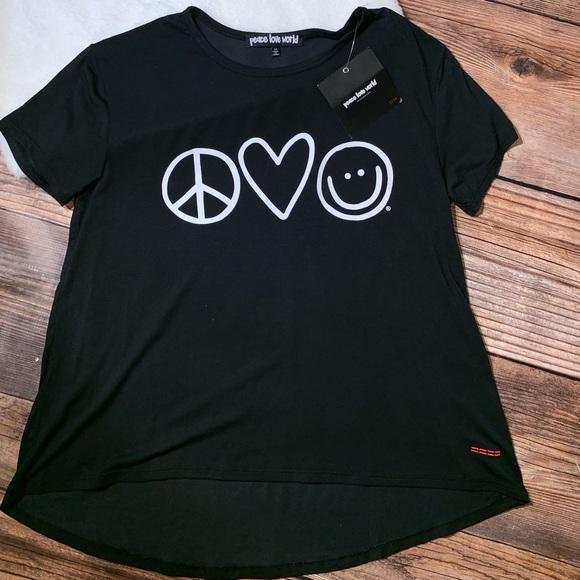 Peace Love World Black Tank Nwt